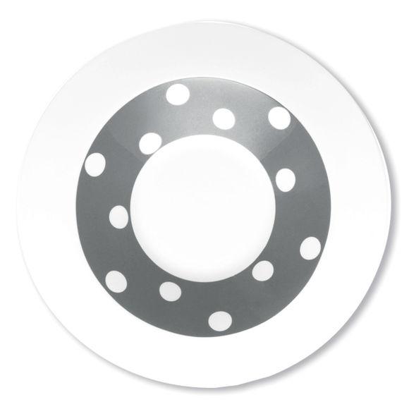 Assiette creuse gris en porcelaine 24cm