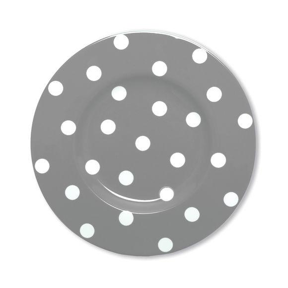Assiette dessert à pois gris en porcelaine 22cm