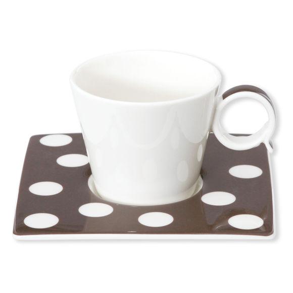 Tasse à café à pois vison en porcelaine 12cl