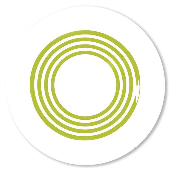 Assiette creuse à rayures vert anis en porcelaine 24cm