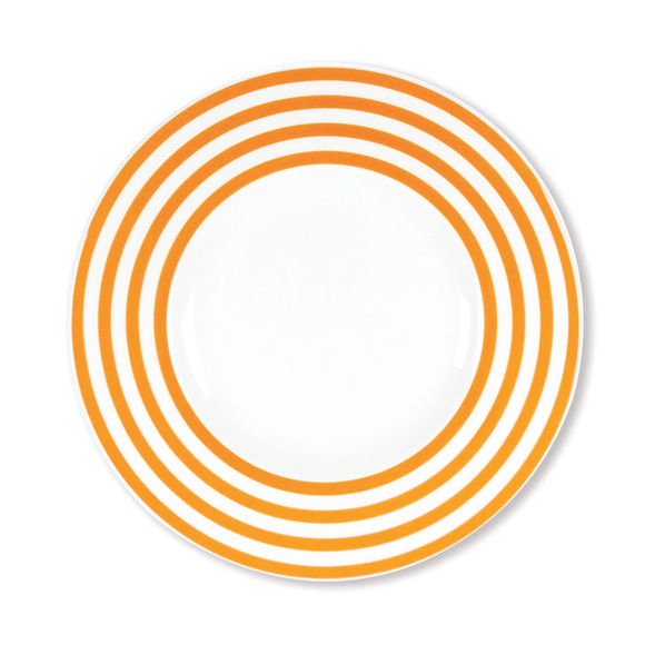 Assiette dessert à rayures orange en porcelaine 22cm