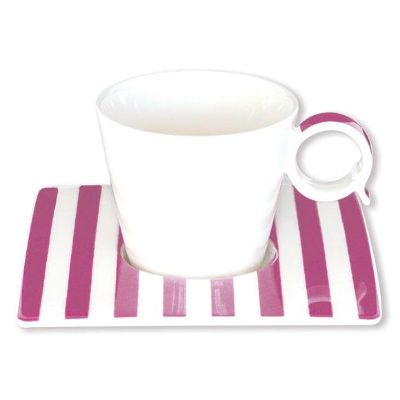 Tasse à café à rayures violet en porcelaine 12cl