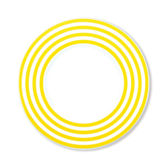 Assiette dessert à rayures jaune en porcelaine 22cm