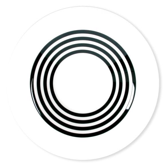 Assiette creuse à rayures noir en porcelaine 24cm