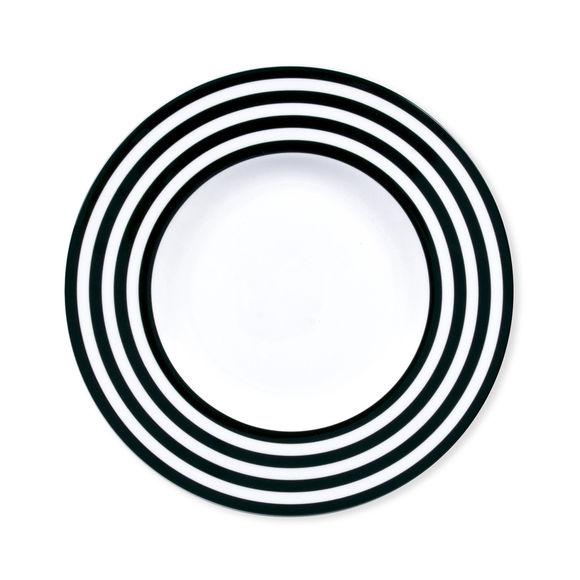 Assiette dessert à rayures noir en porcelaine 22cm