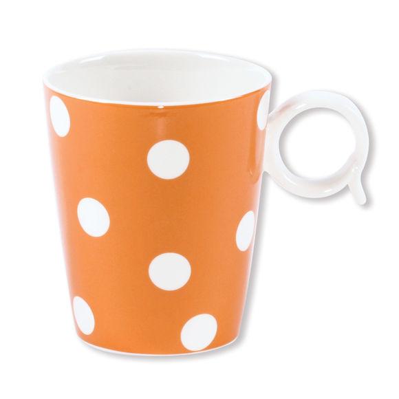 Mug à pois orange en porcelaine 32cl