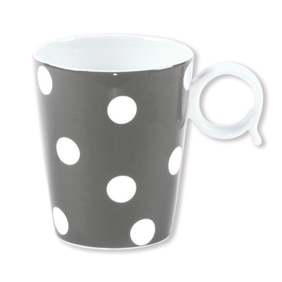 Mug à pois gris en porcelaine 32cl
