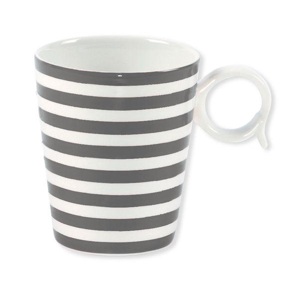 Mug à rayures gris en porcelaine 32cl