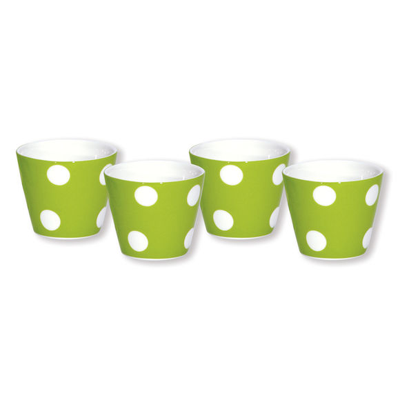 Gobelet expresso à pois vert anis en porcelaine 10cl