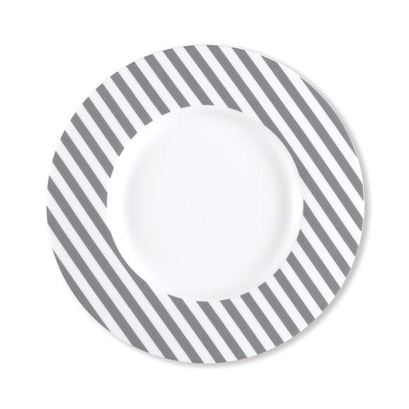 Assiette dessert à rayures gris en porcelaine 23cm