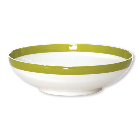 Assiette creuse filet vert anis en porcelaine 20cm