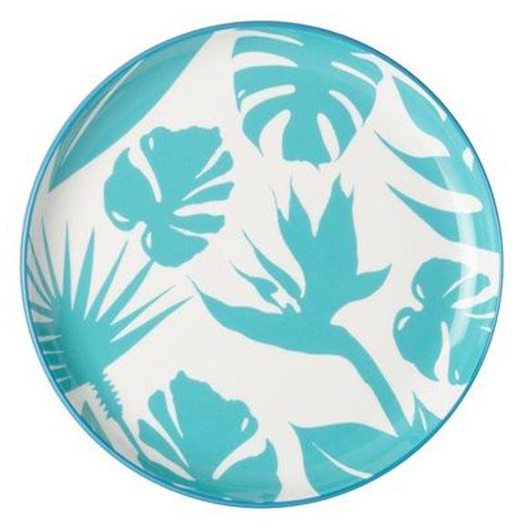Assiette plate en porcelaine décor tropical 25cm