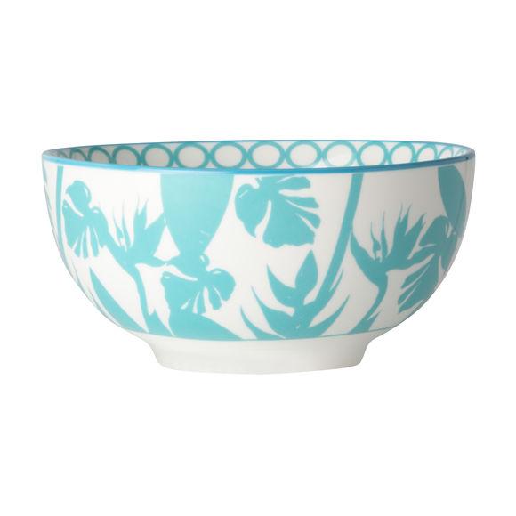 Coupelle en porcelaine décor tropical 15,5cm