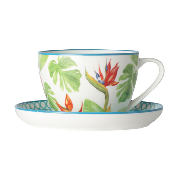 Tasse à thé en porcelaine décor tropical 26cl