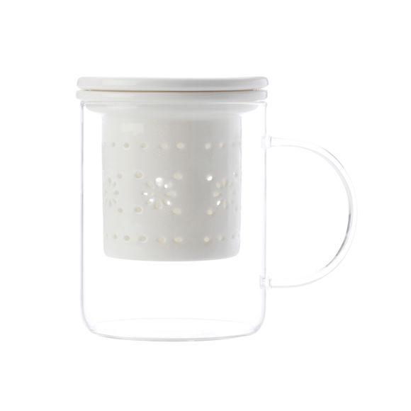 Tisanière en verre avec filtre en porcelaine 35cl