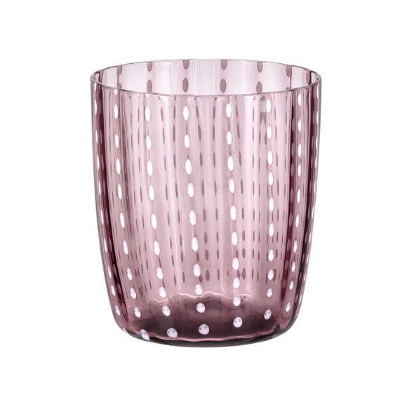 Gobelet bas en verre soufflé bouche rose 35cl