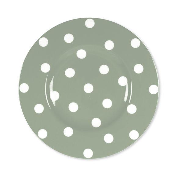 Assiette dessert à pois vert sauge en porcelaine 22cm
