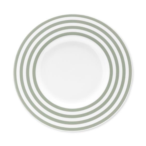 Assiette dessert à rayures vert sauge en porcelaine 22cm