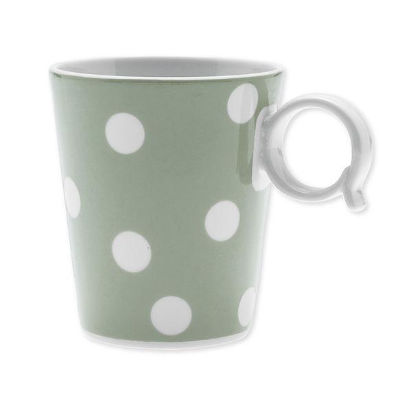 Mug à pois vert sauge en porcelaine 32cl