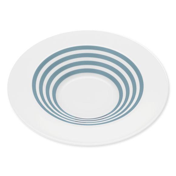 Assiette creuse à rayures bleu jean en porcelaine 24cm