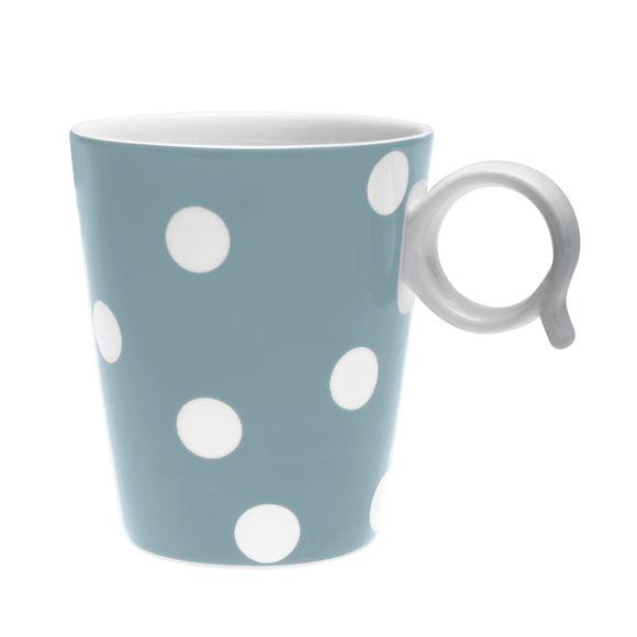 Mug à pois bleu jean en porcelaine 32cl