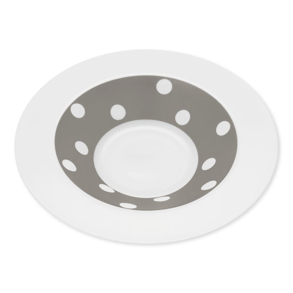 Assiette creuse à pois taupe en porcelaine 24cm