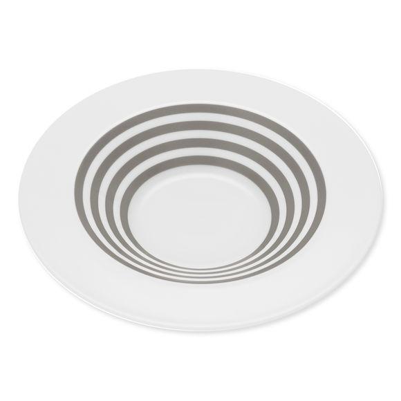 Assiette creuse à rayures taupe en porcelaine 24cm