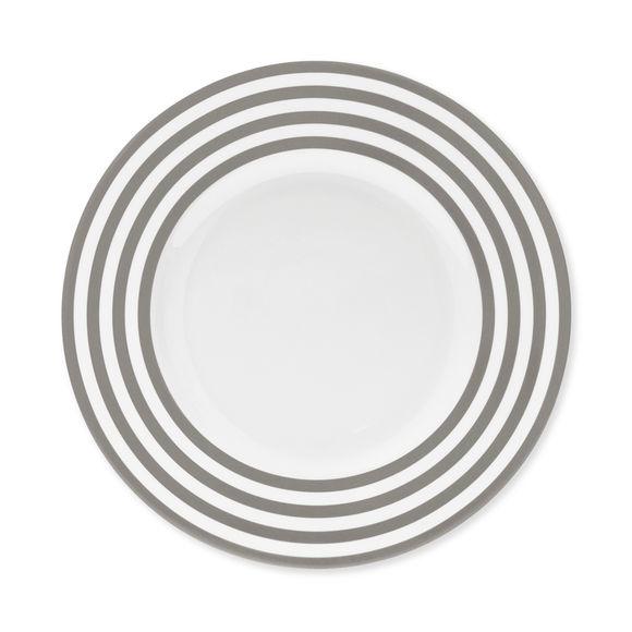 Assiette dessert à rayures taupe en porcelaine 22cm