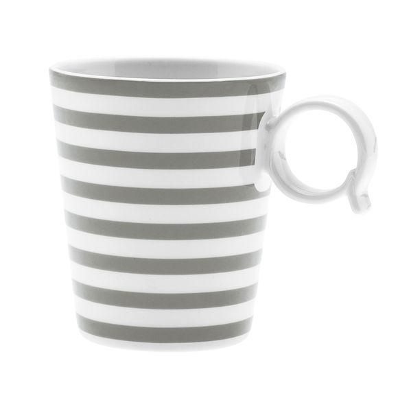 Mug à rayures taupe en porcelaine 32cl