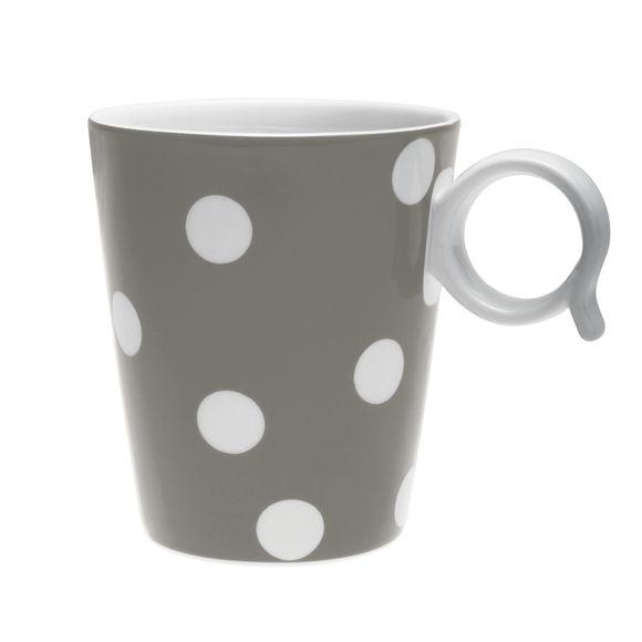 Mug à pois taupe en porcelaine 32cl