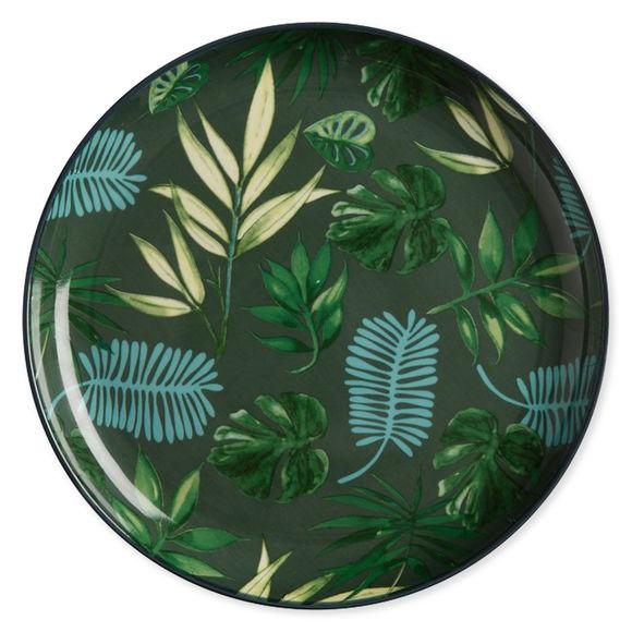 Assiette plate en porcelaine décor exotique 25cm