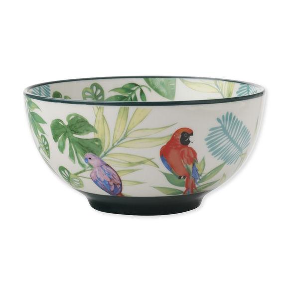 Coupelle en porcelaine décor exotique 15cm