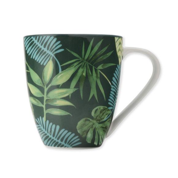 Mug en porcelaine décor exotique vert 50cl