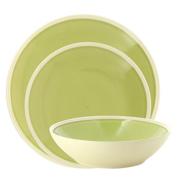 Service de 3 assiettes vert en grès