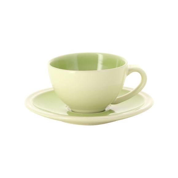 Tasse à expresso vert et ivoire en grès 10cl - Lot de 2