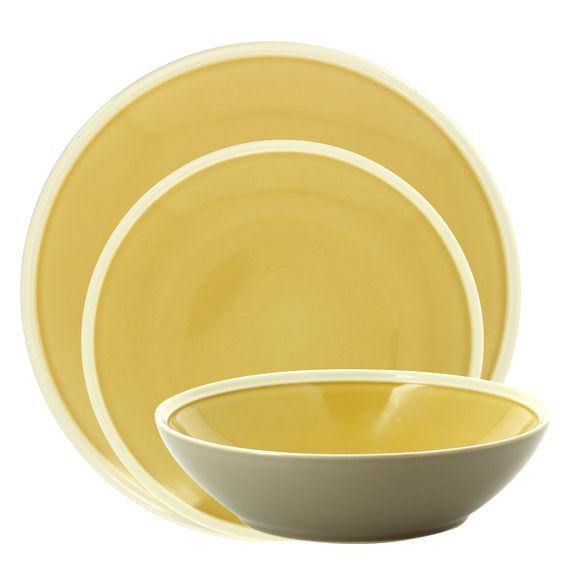 Service de 3 assiettes jaune en grès