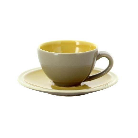 Tasse à expresso jaune et taupe en grès 10cl - Lot de 2