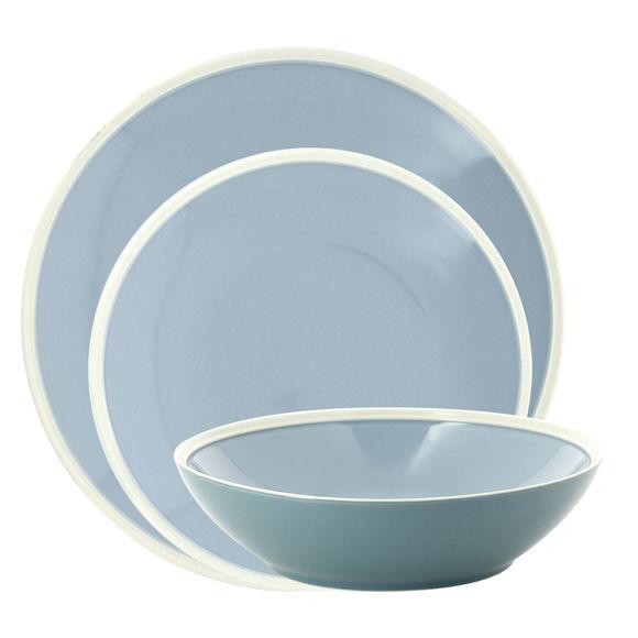 Service de 3 assiettes bleu en grès