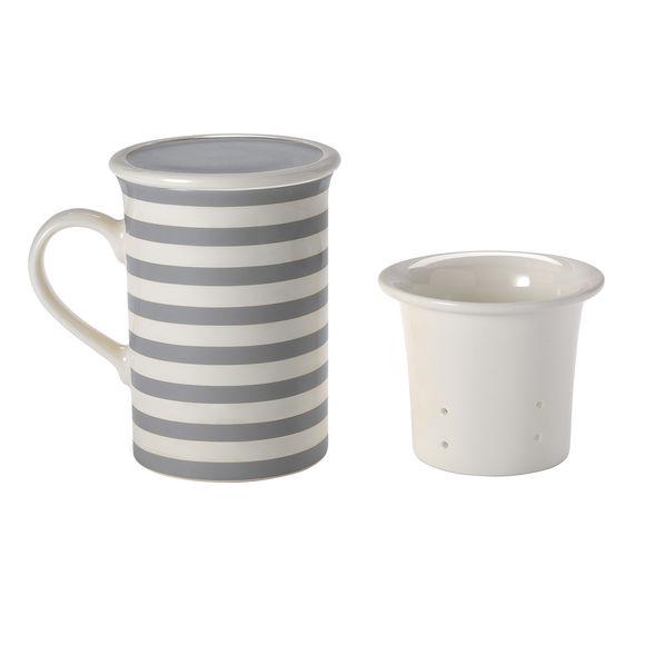Tisanière rayures gris en porcelaine 25cl