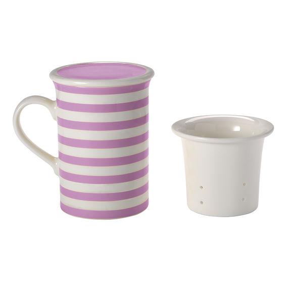 Tisanière rayures violet en porcelaine 25cl