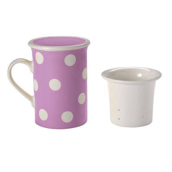Tisanière à pois violet en porcelaine 25cl