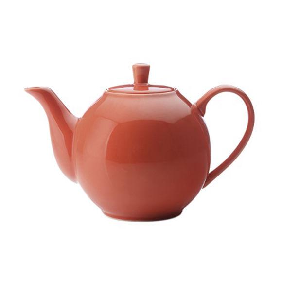 Théière orange en porcelaine filtre inox 1,2L
