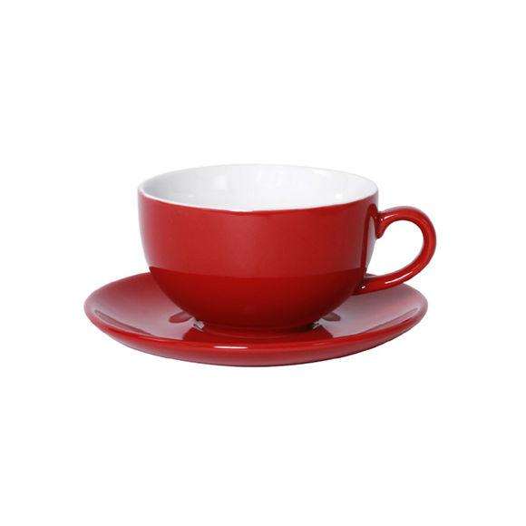 Tasse à déjeuner rouge en porcelaine 32cl - Lot de 6