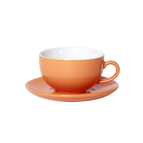 Tasse à déjeuner orange en porcelaine 32cl - Lot de 6