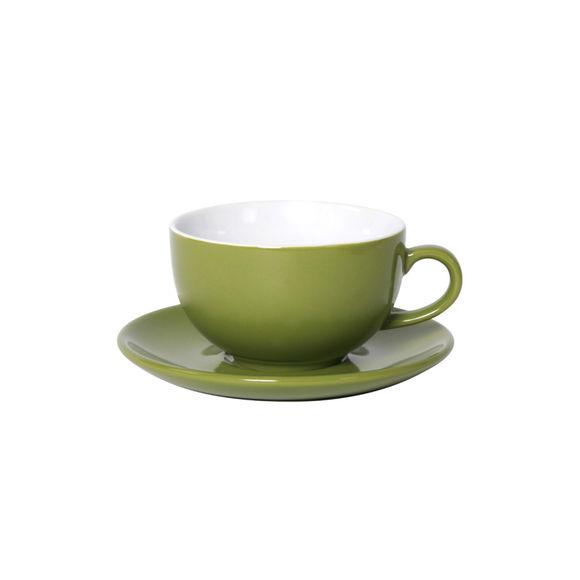 Tasse à déjeuner vert en porcelaine 32cl - Lot de 6