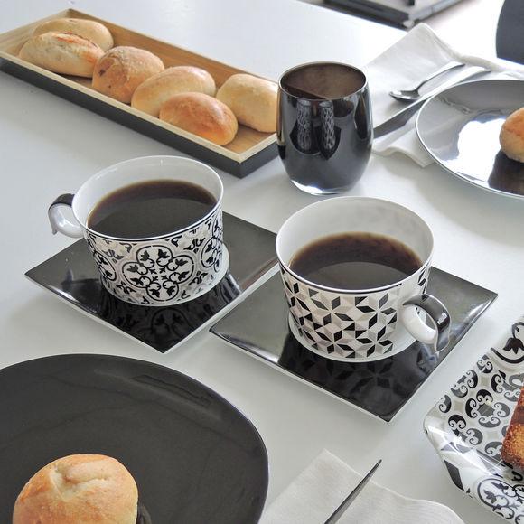 tasses d jeuner en porcelaine color e et motifs bruno evrard. Black Bedroom Furniture Sets. Home Design Ideas