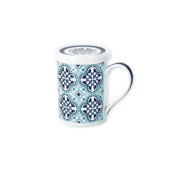 Tisanière motifs fleurs en porcelaine 25cl