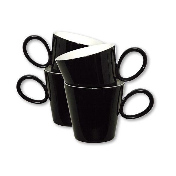 Mugs noirs en porcelaine 30cl - Lot de 4