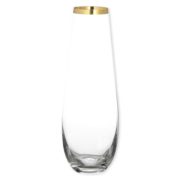 Vase en verre transparent bord or 34cm