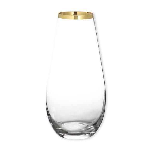 Vase en verre transparent bord or 30cm